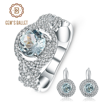 GEM'S BALLET 3.76ct Classic Natural Sky Blue Topaz Gemstone Jewelry Sets 925 Sterling Silver Earrings Ring Set For Women Wedding