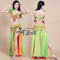 Sexy Belly Dance Costume Sets S/M/L 3pcs Bra/Belt/Skirt total Nice Tribal dancing Clothes Set Dress bellydance Wear 3 colors