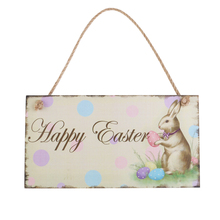 Happy Easter Sign Wooden Rabbit Hanging Decoration Sign