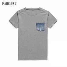 Markless летняя хлопковая Футболка Мужская модная повседневная серая футболка Топы И Футболки с круглым вырезом Футболка hombre TXA5611M