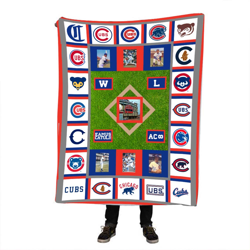 Custom Made Design <font><b>ChicagoCubs</b></font> Pringting Velvet Plush Throw Blanket Dropshipping Sherpa Blanket for Bed Customized Thin Quilt image