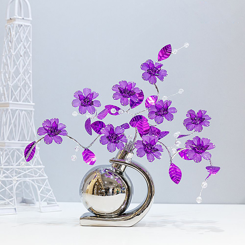 European modern creative 8 colors Brick-inlaid Crystal Flower Figurines fashion home decoration crafts Wedding Gifts Ornaments