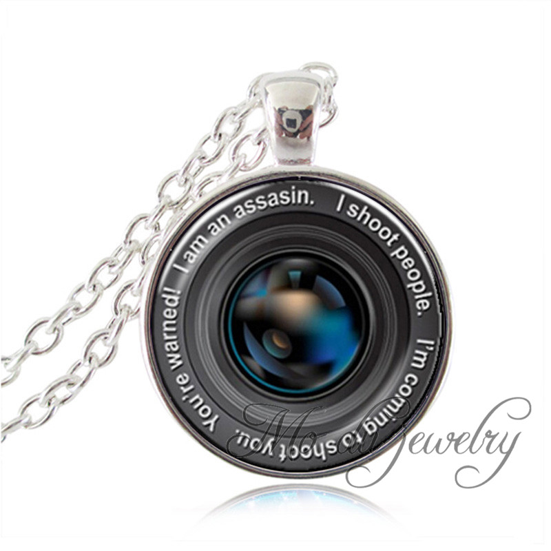 Vintage Jewelry Silver Plated Art Picture Camera Lens Pendant Necklacefor Men Women Traveler Lover Gifts Glass Pendant Necklace