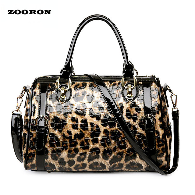 2017 new leopard leather bright face women handbags women single shoulder handbag lady fashion crossbody handbag two piece