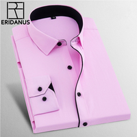 Dress Shirts Men 2017 New Brand Spring Long Sleeve Twill Business Formal Mens Dress Shirts Solid