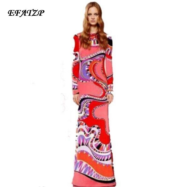 Women s 2015 Spring New Arrival Luxury Brands Long Sleeves Colourful Bohemian Print Jersey Silk Maxi