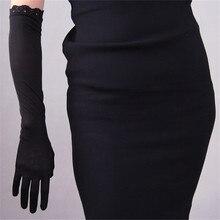 Natrual Silk Women Gloves Female Elastic Sunscreen 50cm Long Black Lace Silkworm Evening vestido Womens Mittens TB25