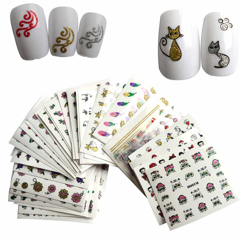 40X New 3d Glitter Blind Designs Feather/Cat/Flower/Bow Decor Sticker Nail Art Tips for Charm DIY Decals Nail Tools JINC178