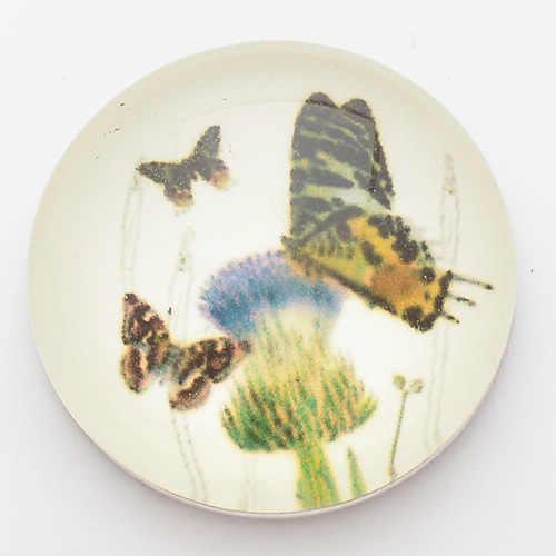 Mariposas en flor 18mm botones a presión, broches de tapa de vidrio y impresión para pulseras de broches de encaje de jengibre joyería NC1755