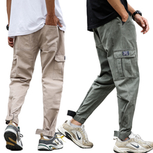 Spring Summer Fashion Joggers Pants Men Loose Fit Big Pocket Cargo Pants Harem Trousers Khaki Green Big Size S-4XL Hip Hop Pants columbia men s big