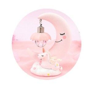 Image 2 - LED cartoon ornaments night light unicorn moon light children baby room display lamps girls cute gifts
