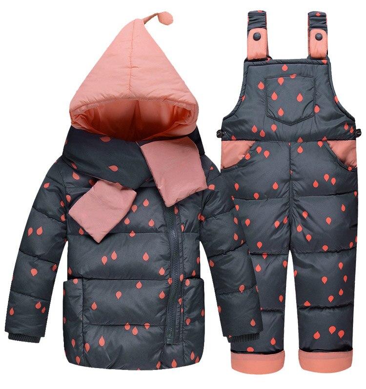 Vestes en duvet pour enfants costume la fille de la mode costume en plumes de canard blanc et pantalon avec deux ensembles de combinaison de ski froid et froid lourd - 5