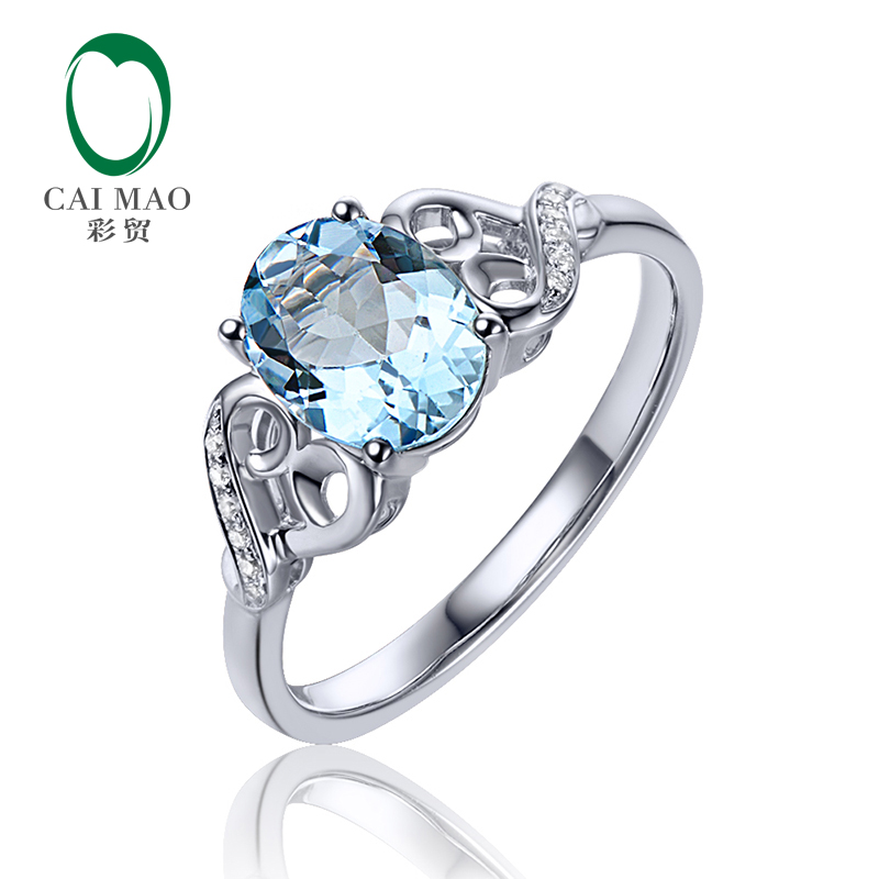 цены 6x8mm Oval Cut 1.15ct VS Blue Aquamarine & 0.04ct Natural Pave Diamond Real 14k White Gold Engagement Ring
