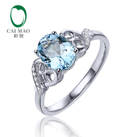 6x8mm Oval Cut 1.15ct VS Blue Aquamarine & 0.04ct Natural Pave Diamond Real 14k White Gold Engagement Ring