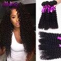Bling do cabelo Brasileiro Profunda Encaracolado Extensões de Cabelo Humano, 7a onda profunda brasileira do cabelo 4 feixes de Cabelo Onda Profunda brazillian feixes