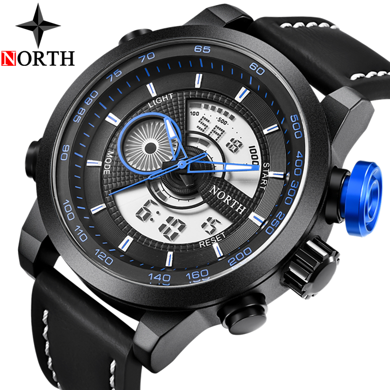 2018 Watch Men NORTH Casual Sport Military Quartz Clock Mens Watches Top Brand Luxury Waterproof Digital Watch Relogio Masculino smael mens watches top brand luxury casual quartz watch men waterproof shock sport led digital watches men relogio masculino