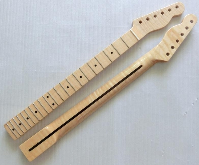 Cheap 21 Fret one pcs wood Tiger flame material Canadian maple Electric Guitar Neck Wholesale Guitar Parts accessories