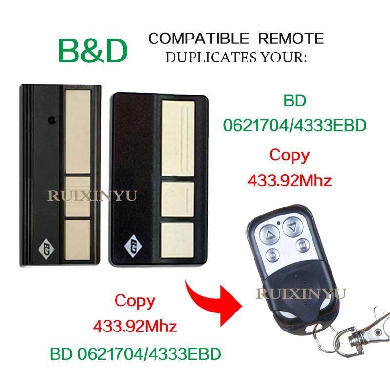 43392mhz:  B&D BD0621704 /BD4333EBD High quality 433.92Mhz High quality 433.92Mhz copy Garage door gates flap door remote control - Martin's & Co