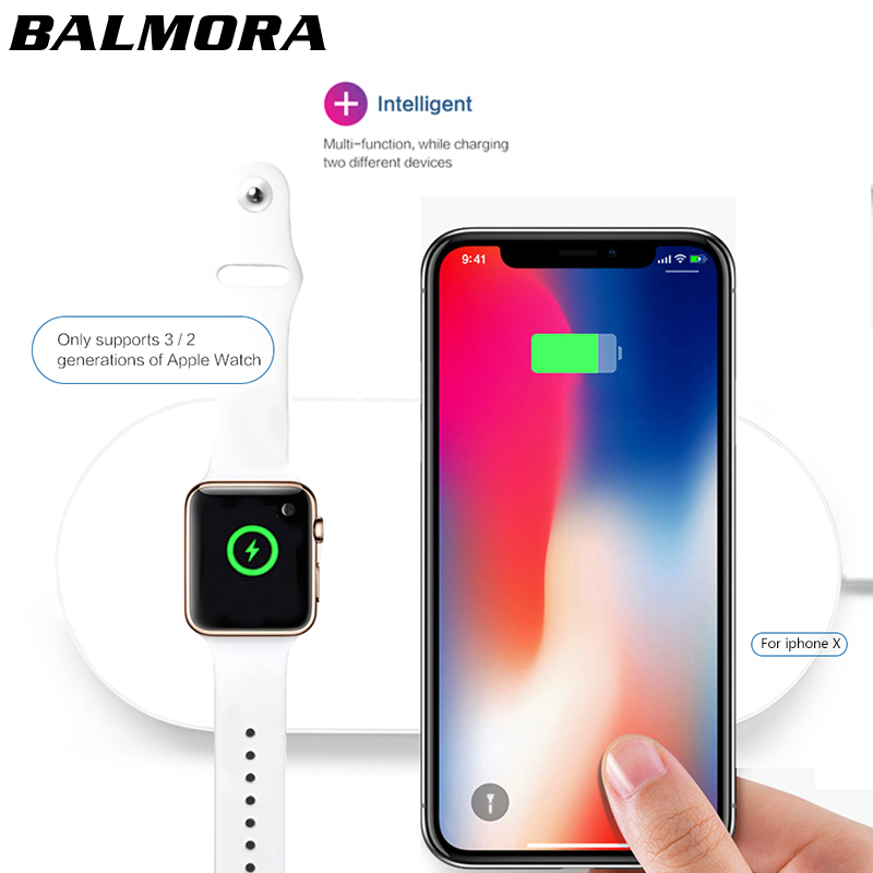 BALMORA For iPhone X 8 8plus Wireless Charger Pad Fast Charging For iWatch 3 2 QI Charger For Sumsang S6 S7edge S8 S8P AirPower