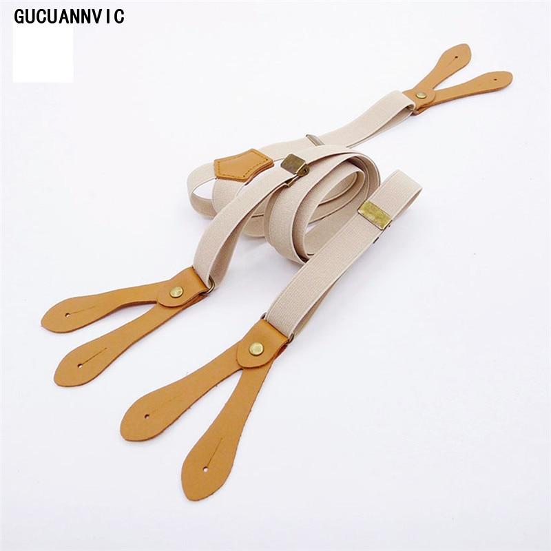 HOT GUCUANNVIC British Style Buttons Suspenders Unisex Fresh Khaki Suspenders For Men And Women Braces Straps Width 2CM