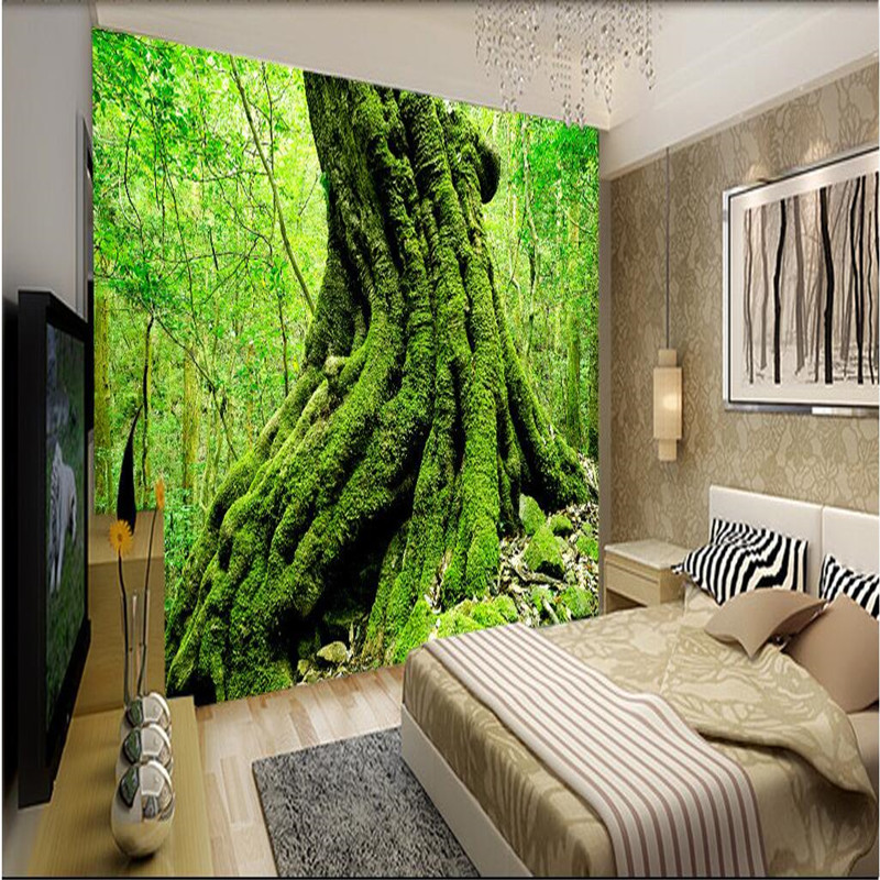 office wall forest landscape nature living mural murals paper backdrops root century beibehang zoom 3d