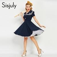 Sisjuly Women Vintage Dress 1950s 60s Nautical Style Summer Retro Dark Blue Dresses Cotton Sailor Collar