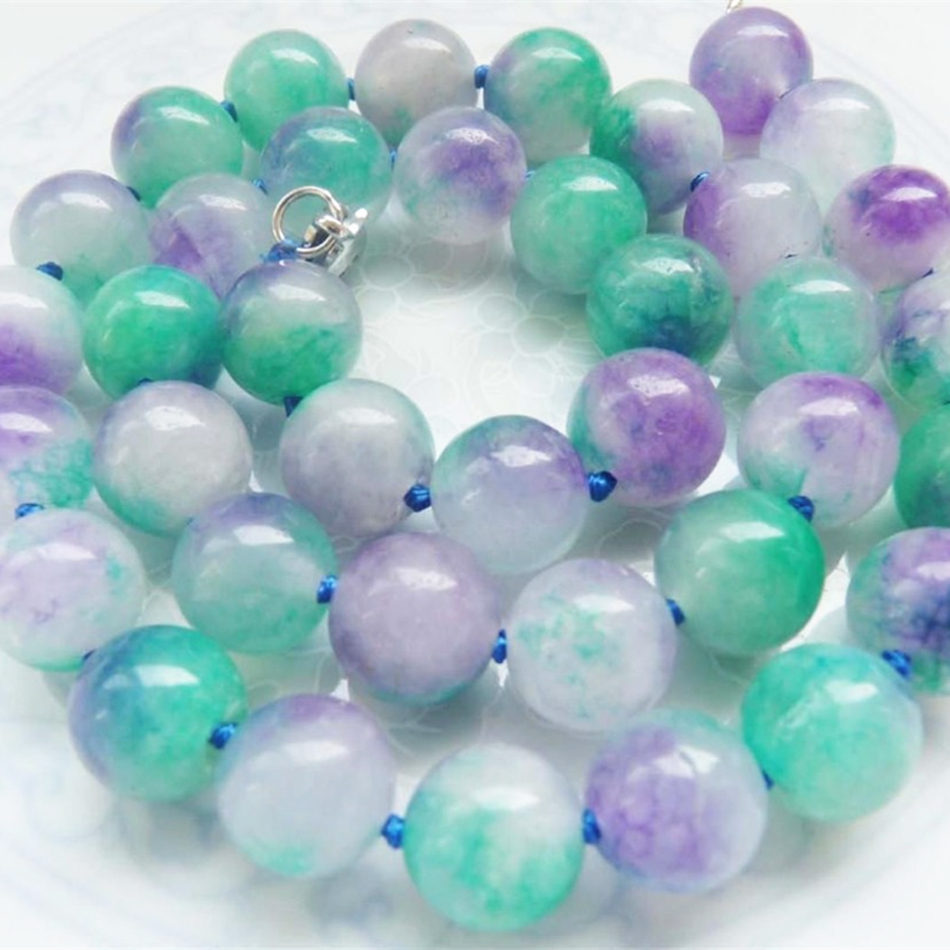 new fashion 10mm natural stone noble multicolor chalcedony jades round beads necklace elegant weddings gift jewelry 18 MY5171