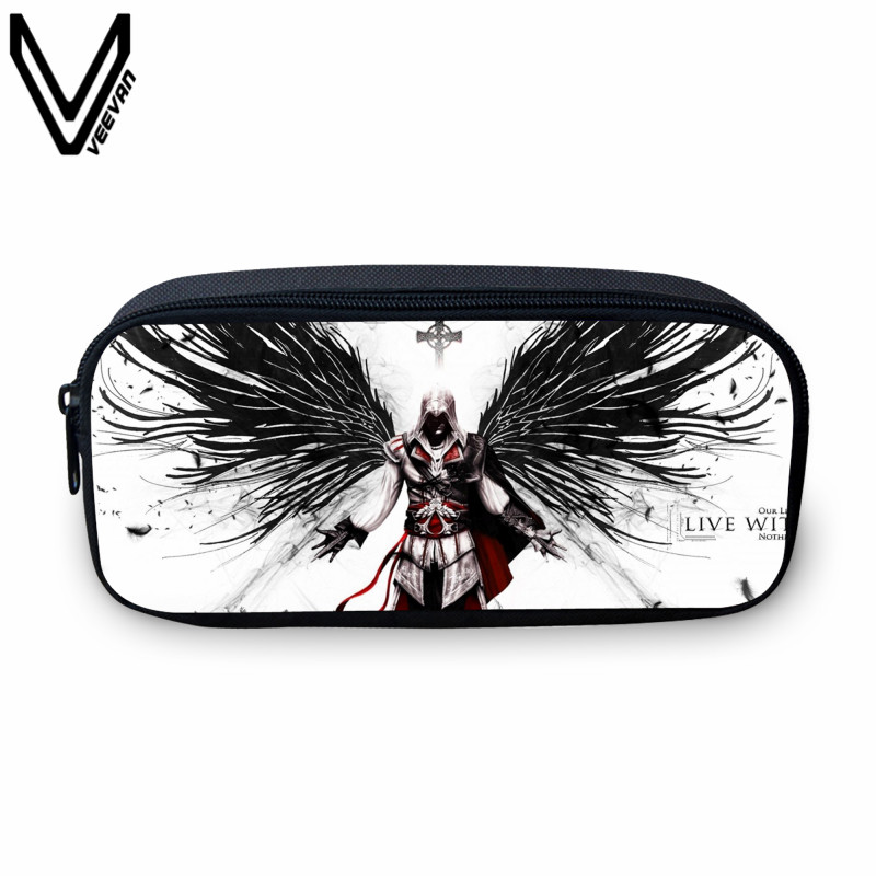 VEEVANV 2017 Hot Sale Assassins Creed Prints Case For Teenagers Boy Girls Students Study Box Casual Make Up Bags Cases
