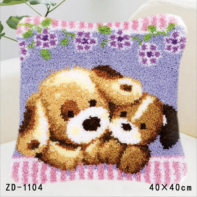 Rug Dogs Embroidery Designs: Animal Pillowcase Latch Hook Rug Kits Dogs DIY Needlework