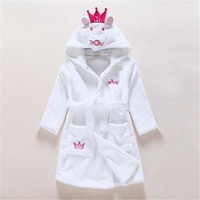 Berymond Children's Bathrobes Baby Robe Hooded Flannel Pajamas Cartoon Bathrobes Kids Soft Bath Robes Poncho Towel Clothing