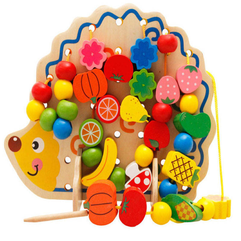 Learning Education Wooden Puzzle Toys 82 Pcs Hedgehog Fruit Beads Montessori  Educational Toy For Children
