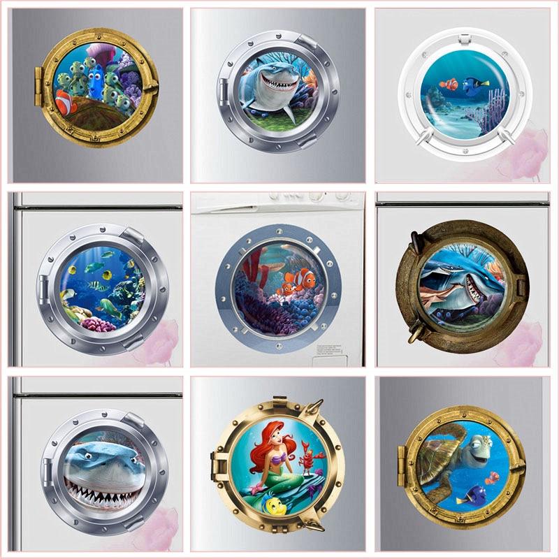 3D Smiling Big Shark Nemo Dory Submarine Portholes Windows Wall Stickers For Washing Machine Decoration Diy PVC Wall Art Decals