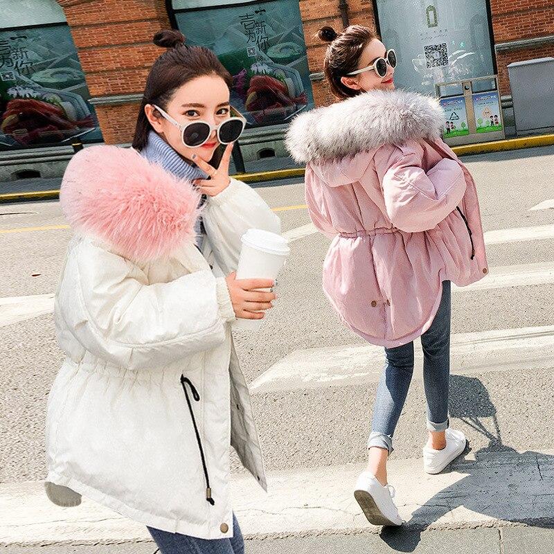 Parkas femmes Camo mode col poilu tunique 2018 dames décontracté mode renard cheveux étoile avec des vestes coréennes bas coton manteaux S-XL