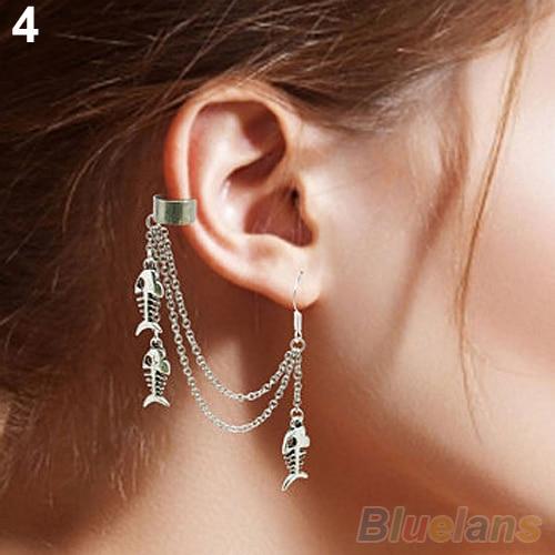 Hot 1pc Punk Silver Tels Chain Leaf Fish Cross Charms Metallic Ear Wrap Cuff Earrings 2kib 7fgp Bd8i In Clip From Jewelry Accessories On