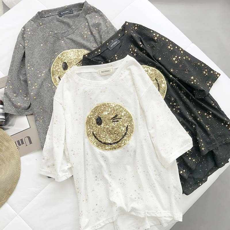 Bling Glimlach T-Shirts Vrouwen Zomer 2019 Nieuwe O-hals Korte Mouwen Pailletten Patchwork Losse T-Shirt Casual Lady Slim Tops Vrouwelijke Tees