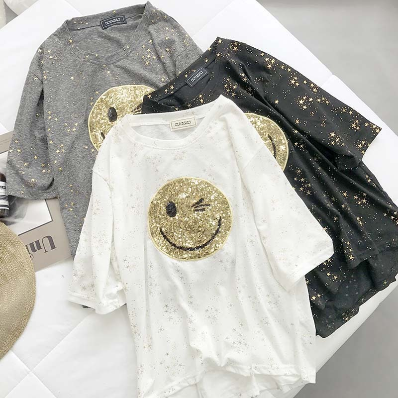 Bling Smile T-Shirts Women Summer 2019 New O-Neck Short Sleeve Sequins Patchwork Loose T-Shirt Casual Lady Slim Tops Female Tees