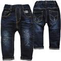 3976 harem pants de cintura elástica pequena azul marinho solto babyjeans do bebé calças jeans meninos calças primavera outono roupa dos miúdos