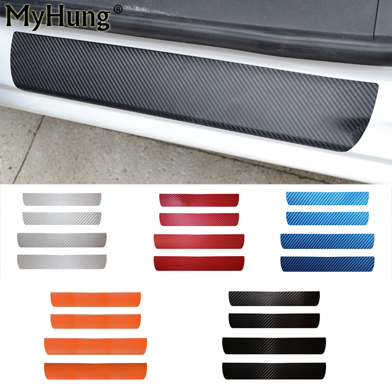 4pcs Car Door Sill Scuff Plate Pedal Guards Sills Cover Sticker For Peugeot 408 2014 To 2016 Carbon Fiber Sticker Car Styling sports car door sill scuff plate guard sills for 2014 mazda 6 atenza m6