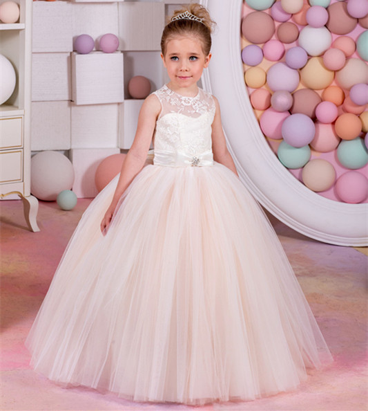 New Flower Girl Dress for Girls Glitz Lace Up Bow Sashes O-neck Sleeveless Pageant Dresses Ball Gown ol square neck sleeveless patch lace bodycon dress for women