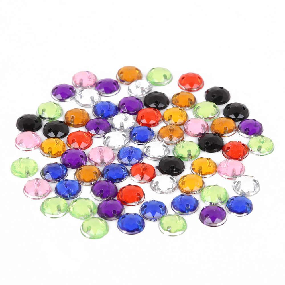 100 Buah 8 Mm Kristal Bulat Pipih Manik Akrilik Dua Lubang Longgar Beads untuk Perhiasan Membuat Menjahit Aksesoris