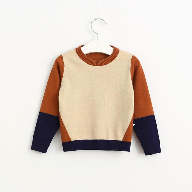Meninas Gola Patchwork Cor Menino Camisolas 2016 Outono Camisolas Para Crianças 2-6a Meninas Outerwear Bebê Menino Cardigan Camisola