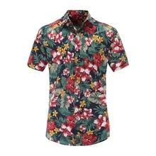 купить Jeetoo Men Short Sleeve Shirt fashion casual colorful print Shirt Men New Summer Fashion Chemise Homme turn-down collar Shirts по цене 623.31 рублей