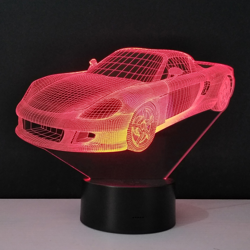 Sports Racing Car 3d Usb Led Night Light 7 Color Illusion Lamp Touch Remote Control Switch Kids Bedroom Lamp Worldwide Drop Ship Lights & Lighting