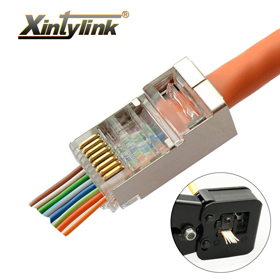 ᗚxintylink EZ rj45 connector cat6 rj 45 plug cat5 cat5e ethernet on
