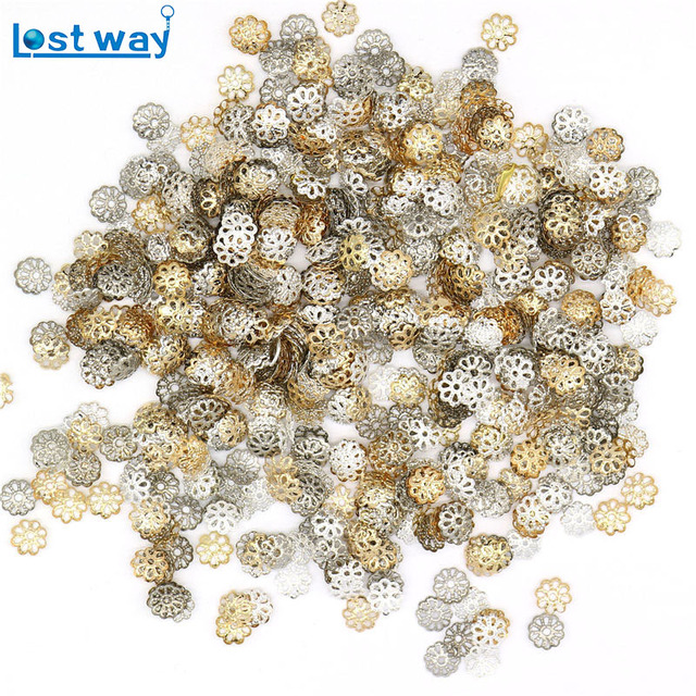1000 pz/lotto 6mm 9 MM Branelli Del Distanziatore Caps Charms Oro Argento Placcato petalo Del Fiore End Bead Tazze Per Monili Making (yiwu)