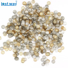 1000pcs/lot 6mm Silver Gold Plated Flower petal End Spacer Beads Caps Charms Bead Cups For Jewelry Making(yiwu)