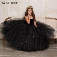 Черный для девочек Нарядные платья 2018 Арабский Дубай Принцесса Жемчуг Тюль бальное платье праздничная одежда пол Длина платье с цветочным