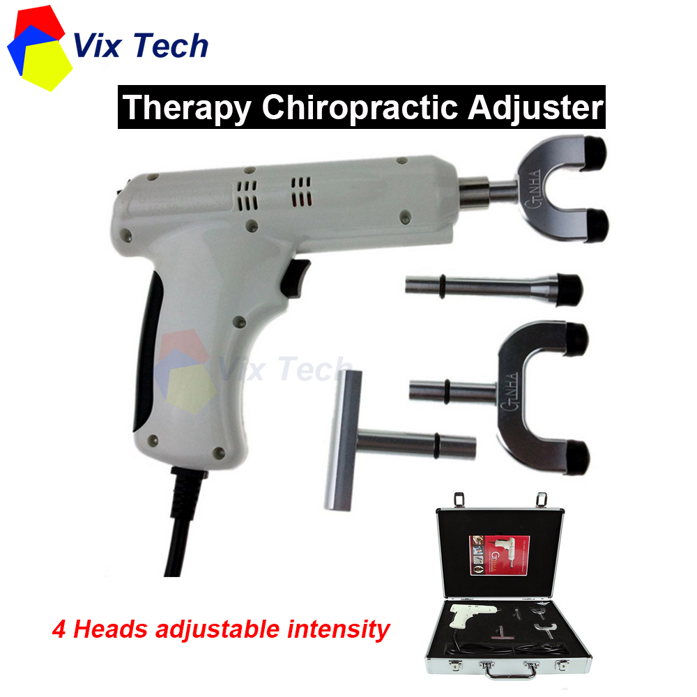 Therapy spine Chiropractic Adjusting Instrument \ Correction Activator Massager impulse gun, 4 Heads adjustable intensity