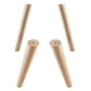 Image 2 - Eiche Holz 300x48x30mm Höhe Zuverlässige Geneigt Möbel Bein mit Eisen Platte Sofa Tisch Schrank Füße set von 4