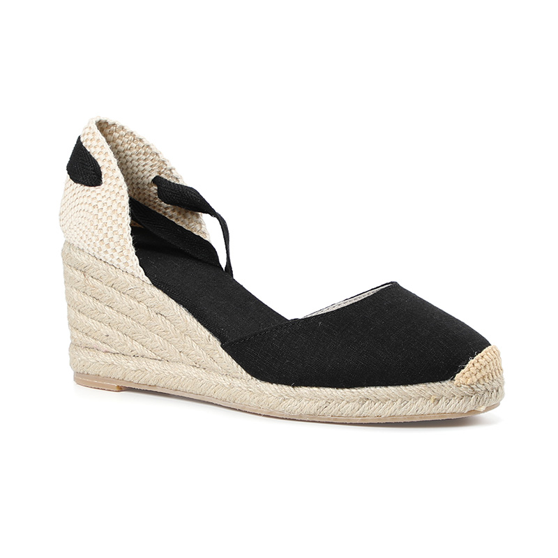 HTB1H77hRkvoK1RjSZFwq6AiCFXaE New 0-3cm Tienda Soludos Womens Wedge Sandals Ankle Strap Cap Toe Espadrille Sandal Concise Cotton Fabric {sandals} Women
